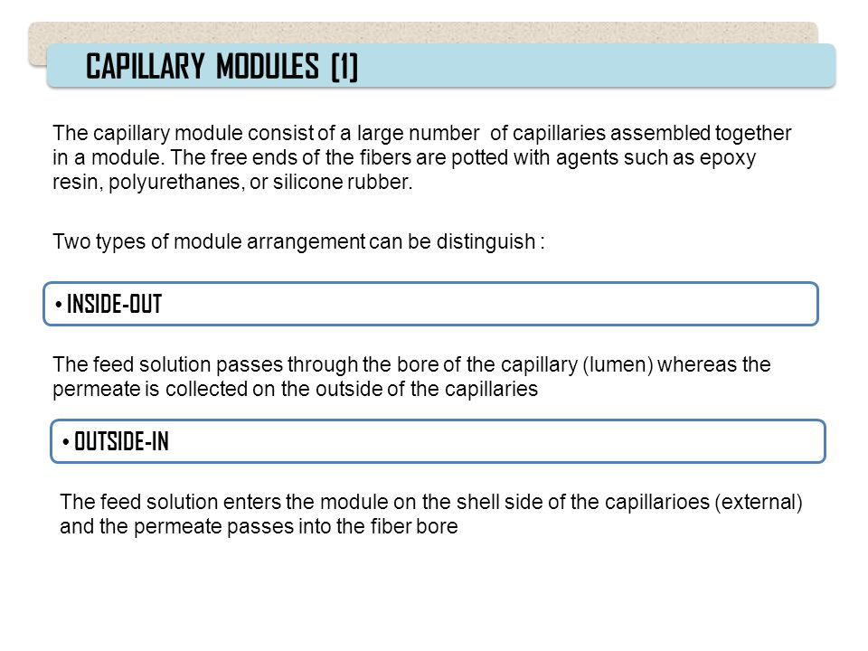 CAPILLARY MODULES [1] INSIDE-OUT OUTSIDE-IN
